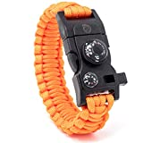 Steinbock7® Survival Armband 16-in-1, Paracord, Pfeife, Feuerstein, Messer, Kompass, Thermometer,...