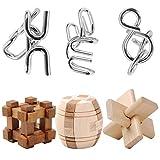 IQ-Spiel Set, iTECHOR 6er Set von IQ-Test Denkspiel Knobelspiele 3D Puzzle Metallpuzzle Holzpuzzle...
