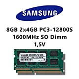 Samsung 8GB (2x 4GB) Dual-Channel Kit DDR3 1600MHz (PC3 12800S) SO Dimm Notebook Laptop...