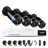 1080P Überwachungskamera System 4 x 1080P Wetterfest HD-Kamera Außen und 4CH DVR ohne Festplatte...