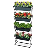 Blumenkastenhalter inkl. 4 Kästen - Pflanzkasten Halterung für Balkon und Garten - Blumenkasten...