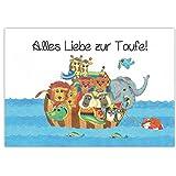 Arche Noah mit Tieren - Glückwunsch zur Taufe 'Alles Liebe zur Taufe' Taufkarte, Babykarte, Karte...