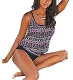 AHOOME bademode damen große größen ,damen Bikini-Sets Oversize Blume Tankini Set(Mehrfarbig4,XXL)