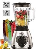 2in1 Glas Edelstahl Standmixer | 600 Watt | 1,5 Liter | inkl. Kaffeemühle | Smoothie Maker |...