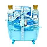 Spa Geschenkkörbe für Damen, Body & Earth Badeset 5-teilig Ocean Duft, Bade-Set mit Duschgel,...