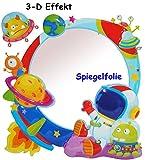 3-D Effekt _ Kinder Spiegel / Wandspiegel mit Spiegelfolie - ' Weltraum - Rakete / Astronaut ' -...