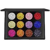 Valuemakers 12 Farben Glitzer Powder Makeup Palette Professional - Langlebig & Schimmer Lidschatten...