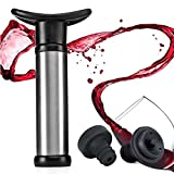 Weinpumpe - GOSCIEN Rostfreier Stahl Wine Saver Vacuum Pump with 2 x Vacuum Valve Bottle Stoppers