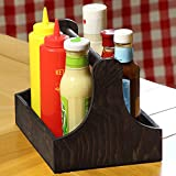Menage aus Kiefernholz, 25 x 18 x 18 cm, ein praktischer Tisch-Organiser, für Gewürze und Soßen...
