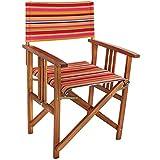 COM-FOUR® Edler Regiestuhl aus Akazienholz mit schönem Bezug, Gartenstuhl, ideal für Ihren...