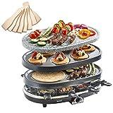 VonShef 3-in-1 Raclette-Grill für 8 Personen mit Naturstein & Grillplatten, Fondue-Wärmer, Tapas &...