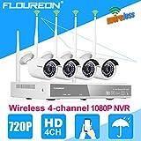 FLOUREON WIFI 1080P Überwachungkamera Set 4CH NVR Videorecorder P2P H.264 + 4X 720P Wlan...