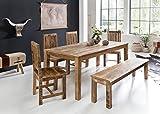 FineBuy Esszimmertisch RUSTI 120 x 70 x 76 cm Mango Massiv-Holz | Design Landhaus Esstisch Massiv |...