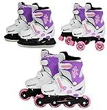 SK8 Zone Mädchen Rosa 3in1 Roller Klingen Inline Rollschuhe Verstellbare Größe Kinder Pro Kombo...