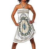 H112 Damen Sommer Aztec Bandeau Bunt Tuch Kleid Tuchkleid Strandkleid Neckholder, Farben:F-026...