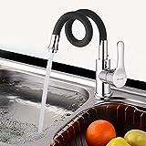 Bathwa wasserhahn Küchenarmatur Spültisch Armatur Schwenkbereich 360° Küchen (Schwarz)