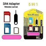 Sim Card Adapter, Click2u 5 in 1 Nano SIM Card Adapter Converter to Micro & Standard SIM Card...