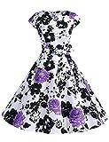 Dressystar Damen Vintage 50er Cap Sleeves Dot Einfarbig Rockabilly Swing Kleider Violett Blume XS