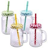 4er Pack Trinkgläser mit Deckel, Henkel und Strohhalm Trinkhalm Glas Gläser Trinkglas Cocktail...