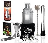 Cocktailshaker Set von GRAND – Das Geschenkeset beinhaltet 1x Edelstahlshaker, 1x Premium...