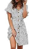 Damen Sommerkleid Casual Chiffon Taste Kurzarm Krawatte Taille Polka Dot Einfarbig Strand Mini Shirt...