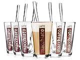 Bluespoon Latte Macchiato Gläser mit Löffeln 6er Set | Füllmenge der Trinkgläser 330 ml |...