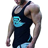 Kecko Men Cotton Herren Tank Top Fitness Stringer Gym Shirt T-Shirt Superman wings Weste Print Sport...