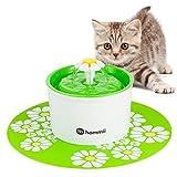 Hommii Haustier Blumentrinkbrunnen Automatisch Trinkbrunnen mit Kohlefilter für Katzen mit Matte...