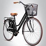 Bergsteiger Amsterdam 26 Zoll Damenfahrrad, ab 140 cm, Korb, Fahrrad-Licht, Mädchen-Fahrrad mit...