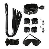Bondage Set, Meerveil SM Set BDSM Fesselset mit Handschellen, Augenmaske, Halsband mit Seil, Bondage...