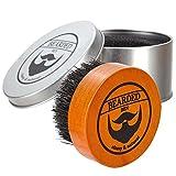 BEARDED BEN Bartbürste mit Wildschweinborsten und hochwertiger Aufbewahrungsbox für professionelle...