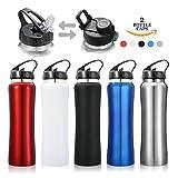 Thermobecher,CAMTOA Edelstahl Wasserflasche 550ml mit 2 verschiedenen Deckeln Doppelwandige...