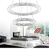 VINGO® 44W 2 Ringe LED Deckenleuchte Kreative Deckenlampe Kronleuchter Designleuchte Dimmbar Mit...