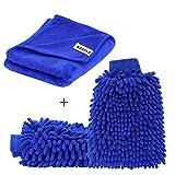 [Große Version Handtuch] SYCEES 2 Stücke Wasserdicht Mikrofaser Autowaschhandschuh und 1 Stück...
