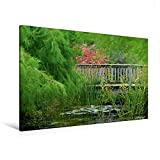 Premium Textil-Leinwand 120 cm x 80 cm quer, Teichbrücke | Wandbild, Bild auf Keilrahmen,...