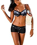 AHOOME Damen Bademode Bikini-Sets Push-up Gepolstert Drucken Mit Shorts(Black,S)