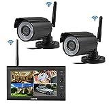 Cadrim Videoüberwachung 7 Zoll LCD 4CH DVR Recorder 2.4GHz WIFI Baby Monitor + 2X WIFI...