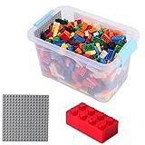 520 BUNTE Bau-Steine verschieden farbig mit Grund-platte; Bau-klötze Bunt 4*2 in Aufbewahrungs-Box;...