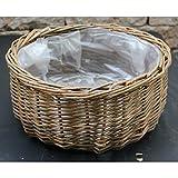 Runde Schale aus ungeschälter weide   bauchige Form   mit Folie ausgelegt   vers. Größen (Ø 35...