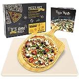 Garcon Pizzastein für Backofen und Gasgrill zum Pizza Backen - 3er Set inkl. Pizza Stone,...