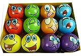 12 Stück bunte Grimassenbälle, ca. 6 cm Durchmesser, Flummi, Anti Stressball, Wurfball, Knetball,...