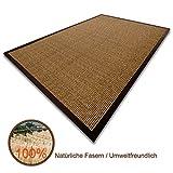 100 % reiner Sisal Teppich Kork Amazonas mit Bordüre in verschiedenen Größen (160 x 230 cm)