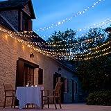 160er LED Lichterkette warmweiß koppelbar Innen Außen Transparentes Kabel 16m Typ CC