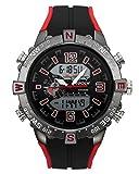 JSDDE Herren Armbanduhr Sportuhr Chronograph LCD Digital + Quarz Uhrwerk Kalender 2-Zeitzone 3ATM...