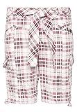 Fresh Made Damen Bermuda-Shorts kariert   Bequeme kurze Hose aus reiner Baumwolle white M