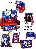3 tlg. Set _ Schulranzen & Federmappe & Turnbeutel - ' Fußball - blau & rot ' - SUPERLEICHT -...