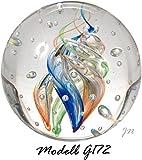 Traumkugel- Briefbeschwerer groß: Motiv bunte Spirale (Feng Shui) mit kleinen Blasen - Handarbeit