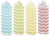 PEARL Strohhalm: Gestreifte 100 Retro Papier-Trinkhalme in 4 Farben, lebensmittelecht...