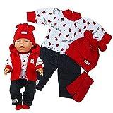 Puppenkleidung 5-tlg Set für Puppe wie z.B. Baby Born bis 43 cm (ohne Puppe) (Rot)