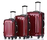 BEIBYE Reisekofferset Kofferset Trolley Trolleys Koffer Zwillingsrollen Hartschalekofferset (Rot)